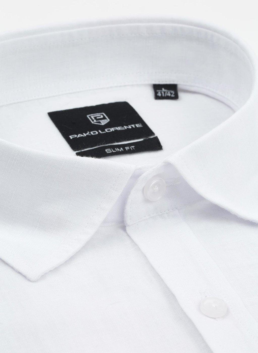 Biała koszula klasyczna męska z przewiewnej tkaniny | Lniana  lvuWm