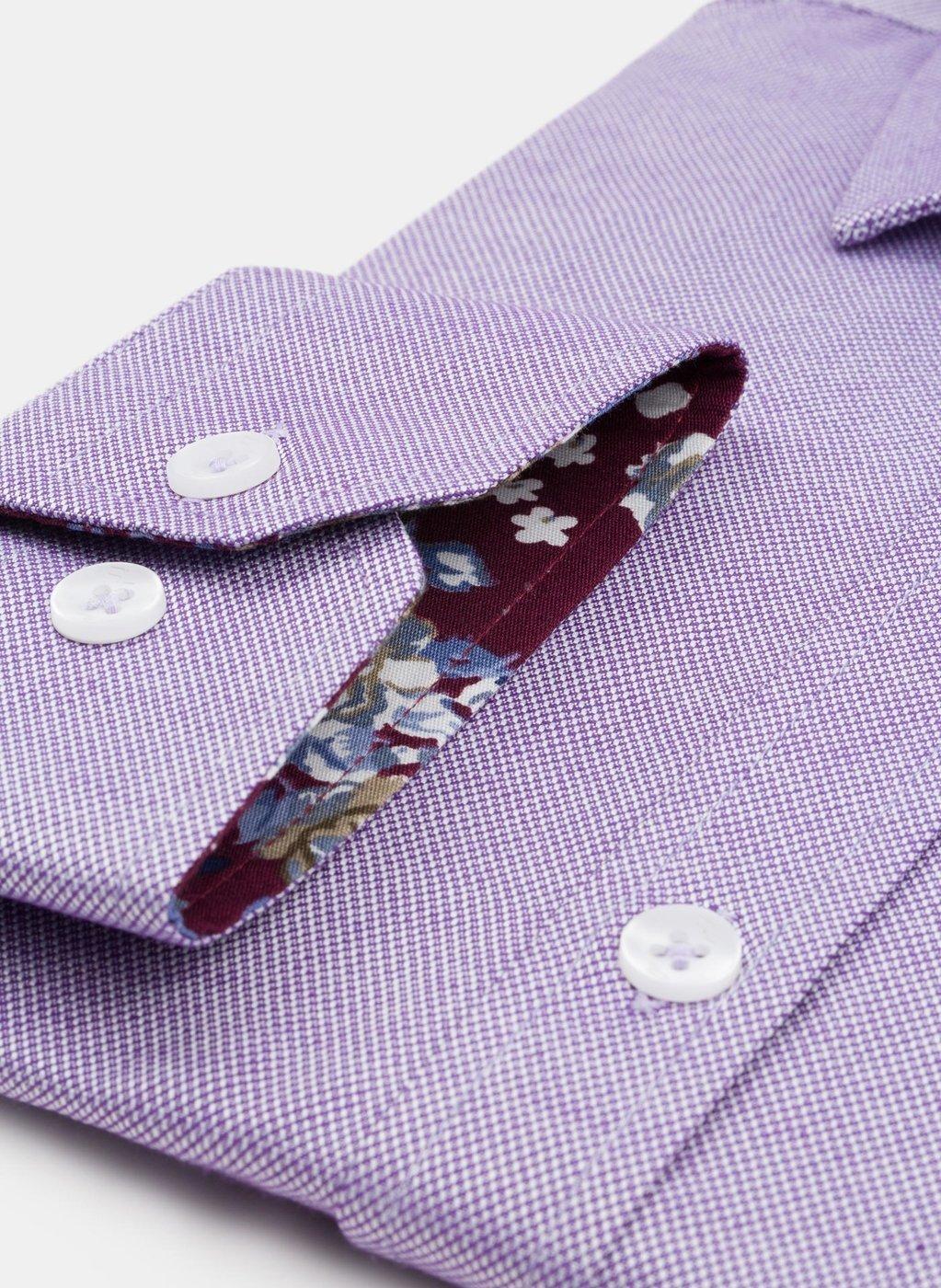 Koszula w kolorze fioletowym męska zapinana na ukryte guziki