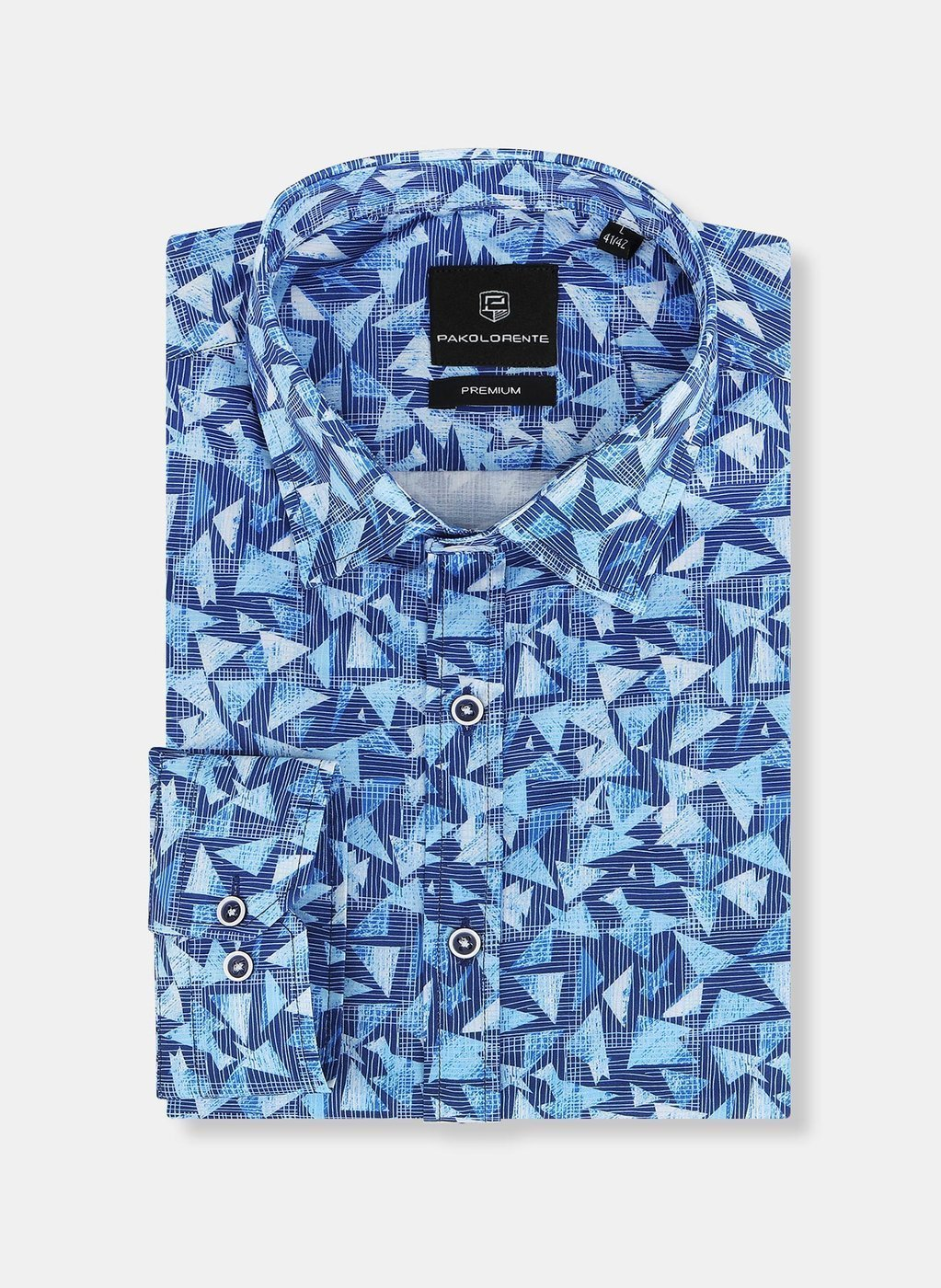 Koszula męska niebieska z nadrukiem liści