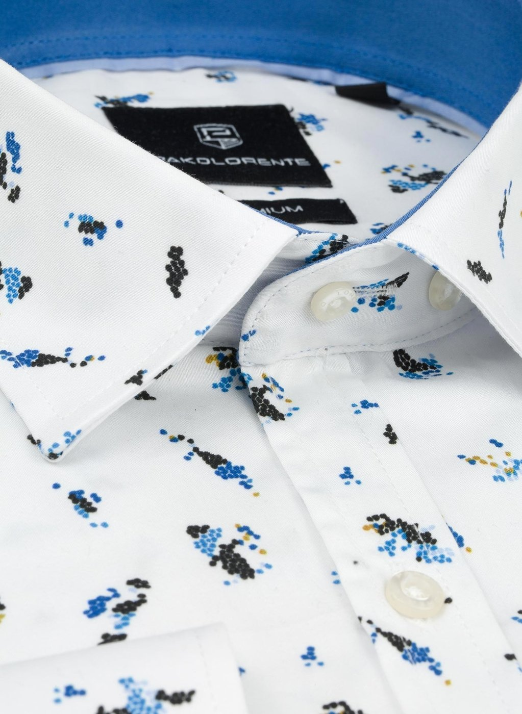 Biała koszula męska w kolorowy wzór | Marki Premium w