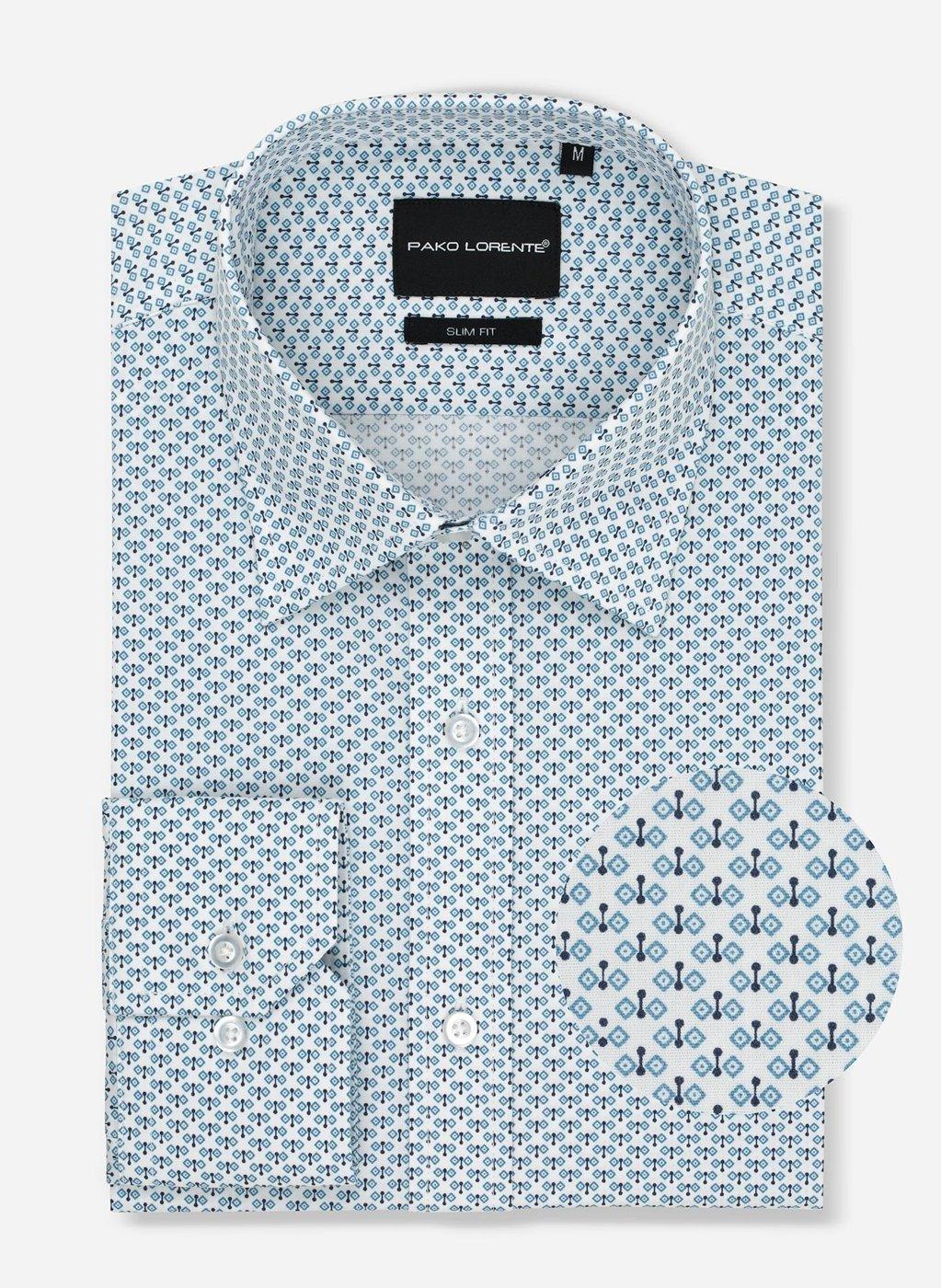 Biała koszula z drobnym, geometrycznym wzorem dla mężczyzn  mX1o4