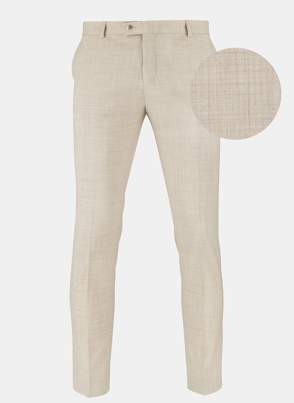 aa187630fe3b41 Spodnie męskie beżowe wykonane w 100% z wełny