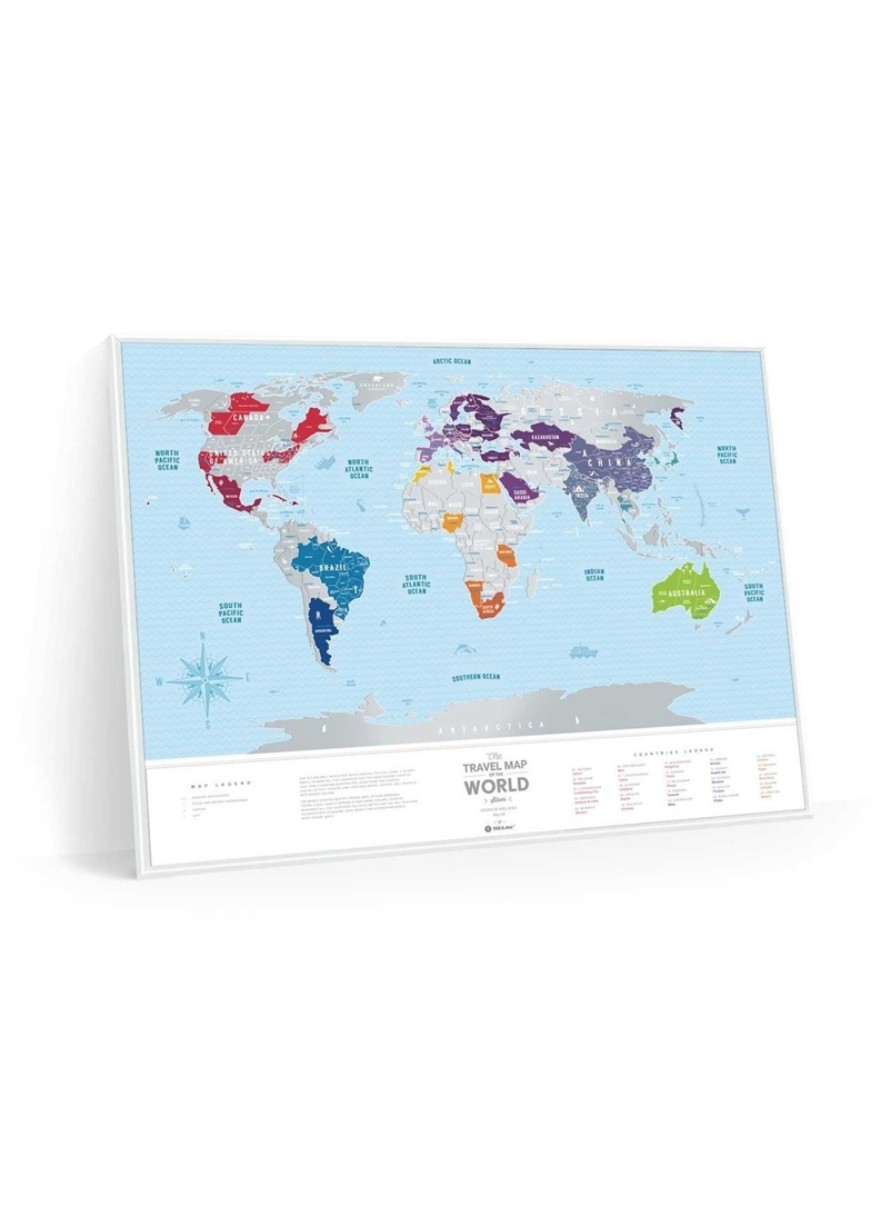 Travel Map Silver World